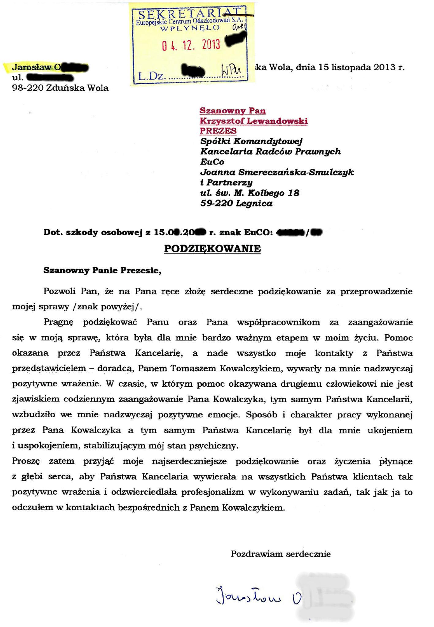 Ofman Jaroslaw - podziekowania