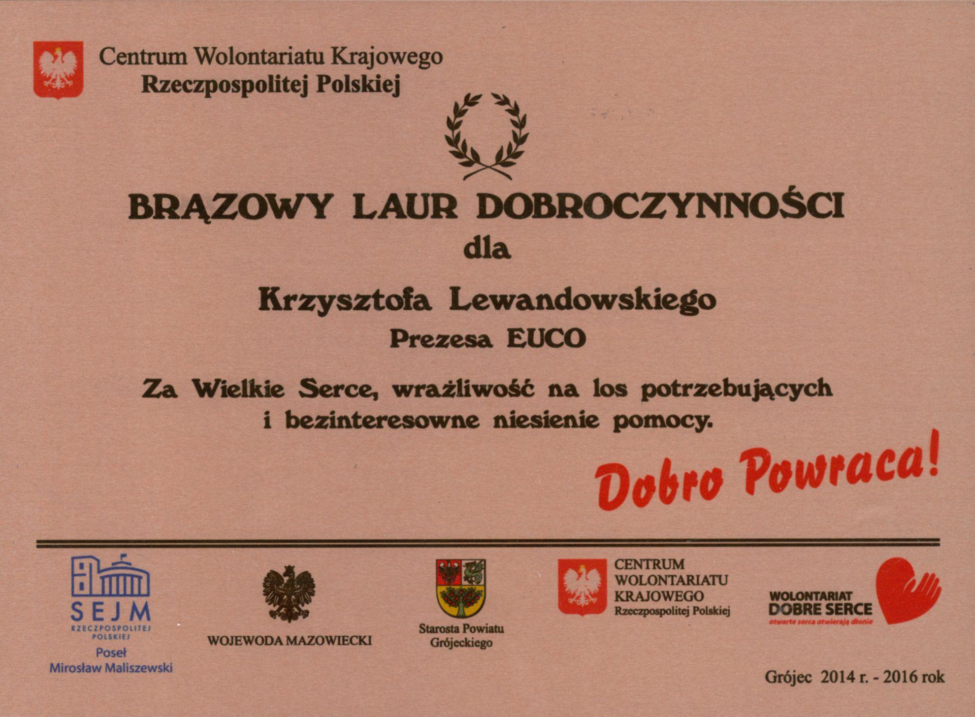 Laur dobroczynności Krzysztof Lewandowski
